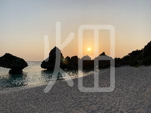そざい畑,素材畑,沖縄の海の夕焼け